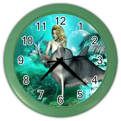 Beautiful Mermaid With  Dolphin With Bubbles And Water Splash Color Wall Clocks by FantasyWorld7