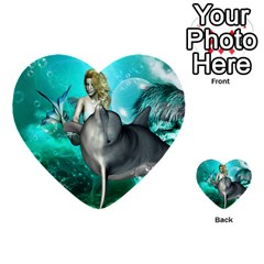 Beautiful Mermaid With  Dolphin With Bubbles And Water Splash Multi Purpose Cards (heart)  by FantasyWorld7
