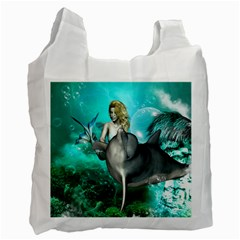 Beautiful Mermaid With  Dolphin With Bubbles And Water Splash Recycle Bag (two Side)  by FantasyWorld7