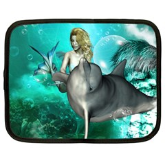 Beautiful Mermaid With  Dolphin With Bubbles And Water Splash Netbook Case (xxl)  by FantasyWorld7