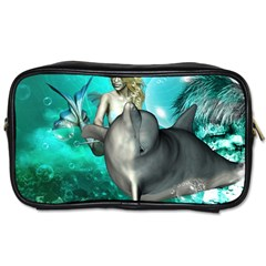 Beautiful Mermaid With  Dolphin With Bubbles And Water Splash Toiletries Bags by FantasyWorld7