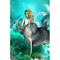 Beautiful Mermaid With  Dolphin With Bubbles And Water Splash 5 5  X 8 5  Notebooks by FantasyWorld7