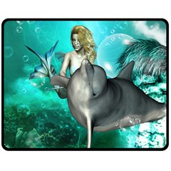 Beautiful Mermaid With  Dolphin With Bubbles And Water Splash Fleece Blanket (medium)  by FantasyWorld7
