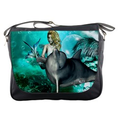 Beautiful Mermaid With  Dolphin With Bubbles And Water Splash Messenger Bags by FantasyWorld7