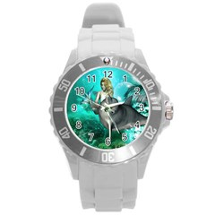 Beautiful Mermaid With  Dolphin With Bubbles And Water Splash Round Plastic Sport Watch (l) by FantasyWorld7