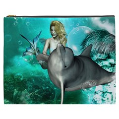 Beautiful Mermaid With  Dolphin With Bubbles And Water Splash Cosmetic Bag (xxxl)  by FantasyWorld7
