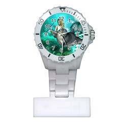 Beautiful Mermaid With  Dolphin With Bubbles And Water Splash Nurses Watches by FantasyWorld7