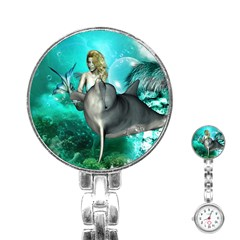 Beautiful Mermaid With  Dolphin With Bubbles And Water Splash Stainless Steel Nurses Watches by FantasyWorld7