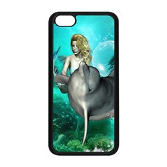 Beautiful Mermaid With  Dolphin With Bubbles And Water Splash Apple Iphone 5c Seamless Case (black) by FantasyWorld7