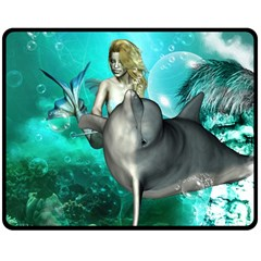 Beautiful Mermaid With  Dolphin With Bubbles And Water Splash Double Sided Fleece Blanket (medium)  by FantasyWorld7