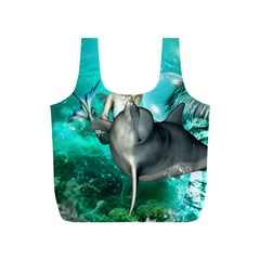 Beautiful Mermaid With  Dolphin With Bubbles And Water Splash Full Print Recycle Bags (s)  by FantasyWorld7