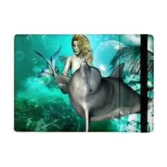 Beautiful Mermaid With  Dolphin With Bubbles And Water Splash Ipad Mini 2 Flip Cases by FantasyWorld7