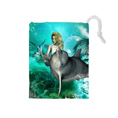 Beautiful Mermaid With  Dolphin With Bubbles And Water Splash Drawstring Pouches (medium)  by FantasyWorld7