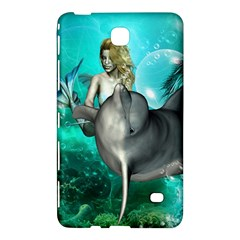 Beautiful Mermaid With  Dolphin With Bubbles And Water Splash Samsung Galaxy Tab 4 (7 ) Hardshell Case  by FantasyWorld7
