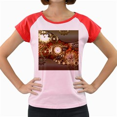 Steampunk, Wonderful Steampunk Design With Clocks And Gears In Golden Desing Women s Cap Sleeve T-Shirt by FantasyWorld7