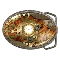 Steampunk, Wonderful Steampunk Design With Clocks And Gears In Golden Desing Belt Buckles by FantasyWorld7