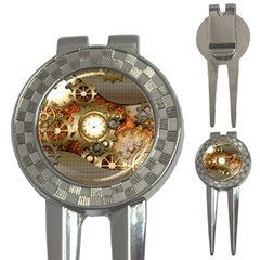 Steampunk, Wonderful Steampunk Design With Clocks And Gears In Golden Desing 3 In 1 Golf Divots by FantasyWorld7
