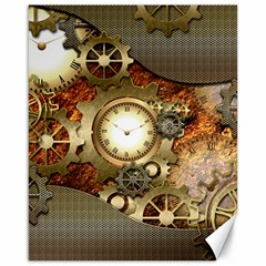 Steampunk, Wonderful Steampunk Design With Clocks And Gears In Golden Desing Canvas 16  X 20