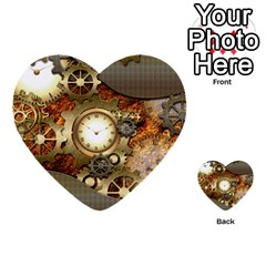 Steampunk, Wonderful Steampunk Design With Clocks And Gears In Golden Desing Multi Purpose Cards (heart)  by FantasyWorld7