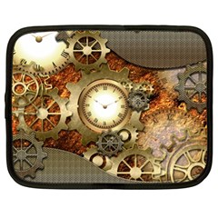 Steampunk, Wonderful Steampunk Design With Clocks And Gears In Golden Desing Netbook Case (XL)