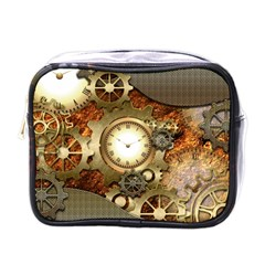 Steampunk, Wonderful Steampunk Design With Clocks And Gears In Golden Desing Mini Toiletries Bags by FantasyWorld7