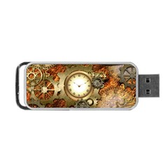 Steampunk, Wonderful Steampunk Design With Clocks And Gears In Golden Desing Portable Usb Flash (two Sides)