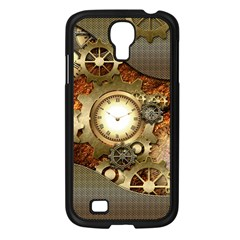 Steampunk, Wonderful Steampunk Design With Clocks And Gears In Golden Desing Samsung Galaxy S4 I9500/ I9505 Case (black) by FantasyWorld7