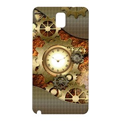 Steampunk, Wonderful Steampunk Design With Clocks And Gears In Golden Desing Samsung Galaxy Note 3 N9005 Hardshell Back Case by FantasyWorld7