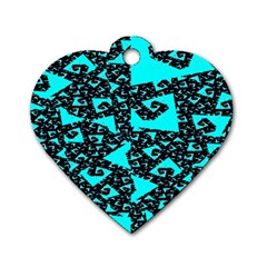 Teal on Black Funky Fractal Dog Tag Heart (Two Sides) by KirstenStar