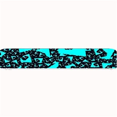 Teal On Black Funky Fractal Small Bar Mats by KirstenStar