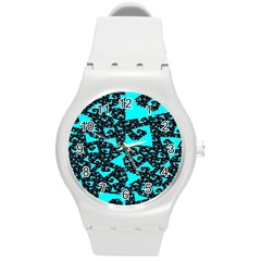Teal On Black Funky Fractal Round Plastic Sport Watch (m) by KirstenStar