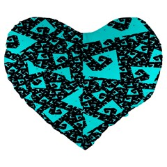 Teal On Black Funky Fractal Large 19  Premium Heart Shape Cushions by KirstenStar