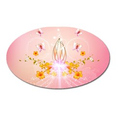 Wonderful Flowers With Butterflies And Diamond In Soft Pink Colors Oval Magnet by FantasyWorld7