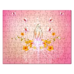 Wonderful Flowers With Butterflies And Diamond In Soft Pink Colors Rectangular Jigsaw Puzzl by FantasyWorld7