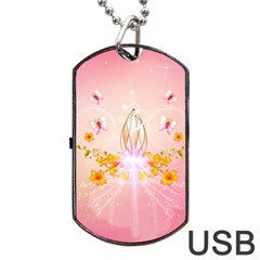 Wonderful Flowers With Butterflies And Diamond In Soft Pink Colors Dog Tag Usb Flash (one Side) by FantasyWorld7
