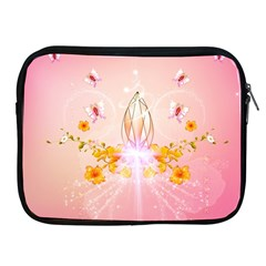 Wonderful Flowers With Butterflies And Diamond In Soft Pink Colors Apple Ipad 2/3/4 Zipper Cases by FantasyWorld7