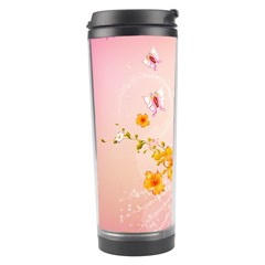 Wonderful Flowers With Butterflies And Diamond In Soft Pink Colors Travel Tumblers by FantasyWorld7