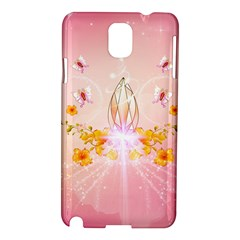 Wonderful Flowers With Butterflies And Diamond In Soft Pink Colors Samsung Galaxy Note 3 N9005 Hardshell Case by FantasyWorld7