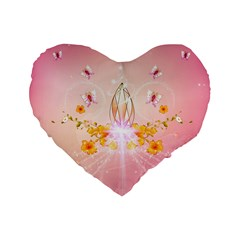 Wonderful Flowers With Butterflies And Diamond In Soft Pink Colors Standard 16  Premium Flano Heart Shape Cushions by FantasyWorld7