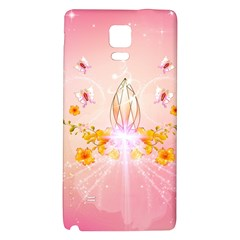 Wonderful Flowers With Butterflies And Diamond In Soft Pink Colors Galaxy Note 4 Back Case