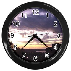 Sunset Over The Valley Wall Clocks (black)
