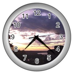 Sunset Over The Valley Wall Clocks (silver)