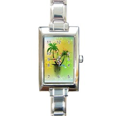 Surfing, Surfboarder With Palm And Flowers And Decorative Floral Elements Rectangle Italian Charm Watches by FantasyWorld7
