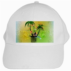 Surfing, Surfboarder With Palm And Flowers And Decorative Floral Elements White Cap by FantasyWorld7
