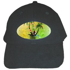 Surfing, Surfboarder With Palm And Flowers And Decorative Floral Elements Black Cap by FantasyWorld7
