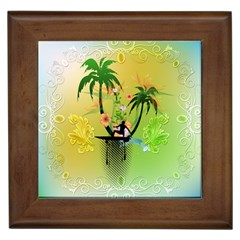 Surfing, Surfboarder With Palm And Flowers And Decorative Floral Elements Framed Tiles by FantasyWorld7
