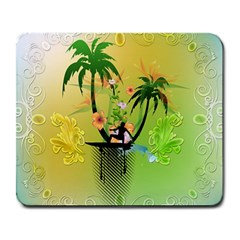 Surfing, Surfboarder With Palm And Flowers And Decorative Floral Elements Large Mousepads by FantasyWorld7