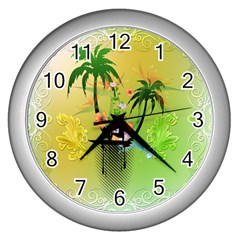 Surfing, Surfboarder With Palm And Flowers And Decorative Floral Elements Wall Clocks (silver)  by FantasyWorld7