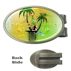 Surfing, Surfboarder With Palm And Flowers And Decorative Floral Elements Money Clips (oval)  by FantasyWorld7