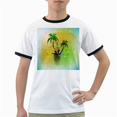 Surfing, Surfboarder With Palm And Flowers And Decorative Floral Elements Ringer T Shirts by FantasyWorld7